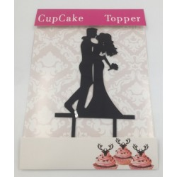Cake acrylic topper - bride and groom silhouette 3