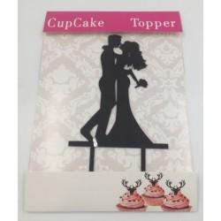 Cake topper acrylique - silhouette de mariés 3