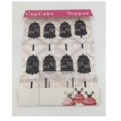 Cupcake mini acrylic topper - cage - 8p