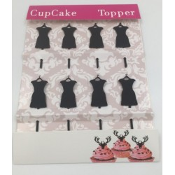 Cupcake mini topper acrylique - robe femme - 8p