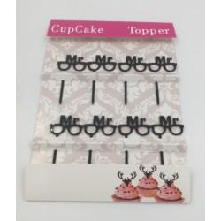 Cupcake mini topper acrylique - lunettes Mr - 8p