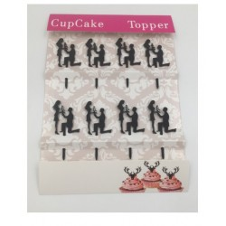 Cupcake mini topper acrylique - silhouette de mariés 1 - 8p