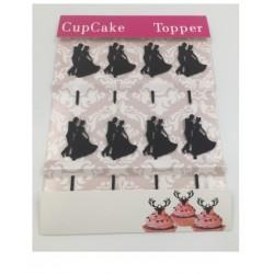 Cupcake mini acrylic topper - bride and groom silhouette 2 - 8p