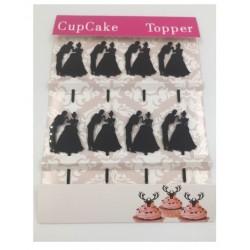 Cupcake mini topper acrylique - silhouette de mariés 3 - 8p