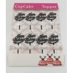 Cupcake mini acrylic topper - happy birthday - 8p