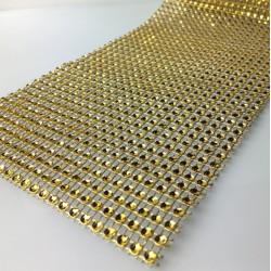 Fake diamante ribbon golden - 100cm x 3.5cm