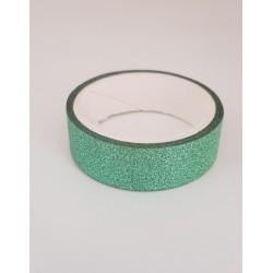 Tape / Adhesive glitter tape - green - 1.4 cm x 2.5 m