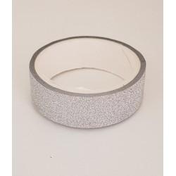 Tape / Ruban adhésif pailleté - argent - 1.4 cm x 2.5 m