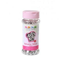 Sugar pearls maxi - metallic silver - Ø8mm - 80g - Funcakes