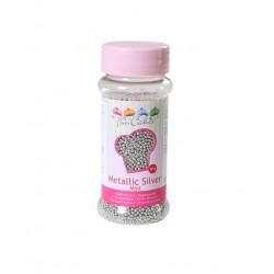 Perles en sucre mini - argent métalisé - Ø2mm - 80g - Funcakes