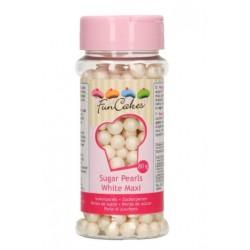 Perles en sucre maxi - blanc nacré - Ø7mm - 80g - Funcakes