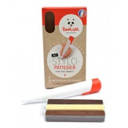 Kit stylo pâtissier + 3 cartouches de chocolat (blanc, lait et noir) PANDACOLOR®