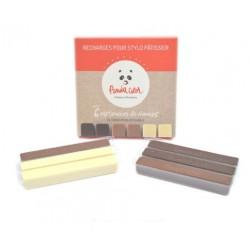 Recharge de 6 cartouches de chocolat noir, blanc & lait PandaColor®