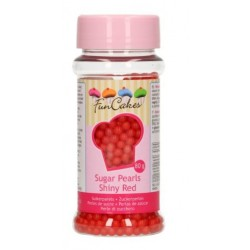 Sugar pearls - red - Ø4mm - 80g - Funcakes