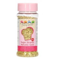 Sugar strands metallic gold - Funcakes - 80g