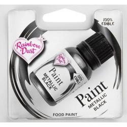 peinture alimentaire métallique - noir - 25 ml