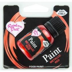 peinture alimentaire métallique - rouge  - 25 ml