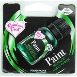 metallic edible paint - holly green - 25 ml