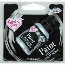 metallic edible paint - light silver - 25 ml