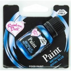 peinture alimentaire métallique - bleu royal - 25 ml