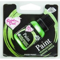 peinture alimentaire nacrée - spring green / vert printemps - 25 ml