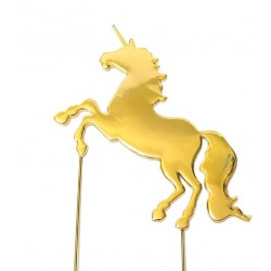 Gold Plated Cake Topper - STAND UP UNICORN  - Sugar Crafty