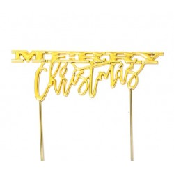 Gold Plated Cake Topper - MERRY CHRISTMAS - Sugar Crafty