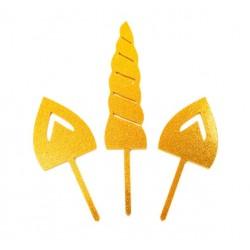 Gold Cake Topper - UNICORN SET - 3p - Sugar Crafty
