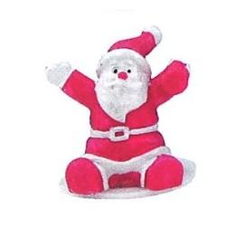 Figurine de Père Noël blanche et fuchsia en résine