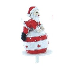 Père Noël couché sur boule en résine - 1pce