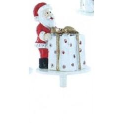 Père Noël debout avec cadeau en résine - 1pce