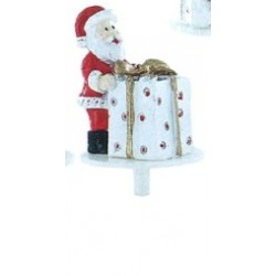 Santa standing with gift in resin - 1pce