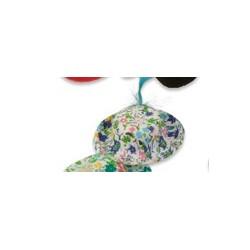 """petit chapeau bleu """"fleur rose & plume"""" - 35-70 x 10-50 mm"""