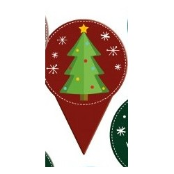 "mini topper ""fir tree"" printed cardboard 2 sides - ø 40 x 60 mm"