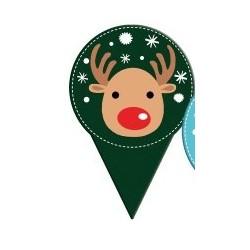 "mini topper ""reindeer"" printed cardboard 2 sides - ø 40 x 60 mm"