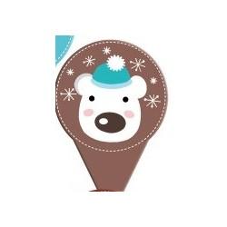 """mini topper """"bear"""" printed cardboard 2 sides - ø 40 x 60 mm"""